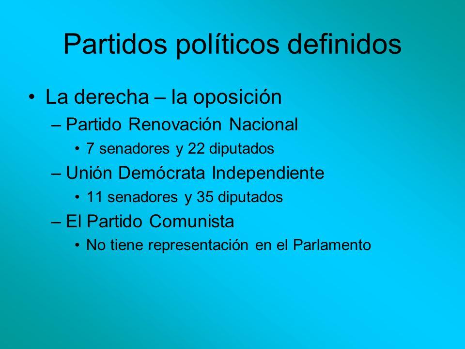 Partidos políticos definidos La derecha – la oposición –Partido Renovación Nacional 7 senadores y 22 diputados –Unión Demócrata Independiente 11 senad