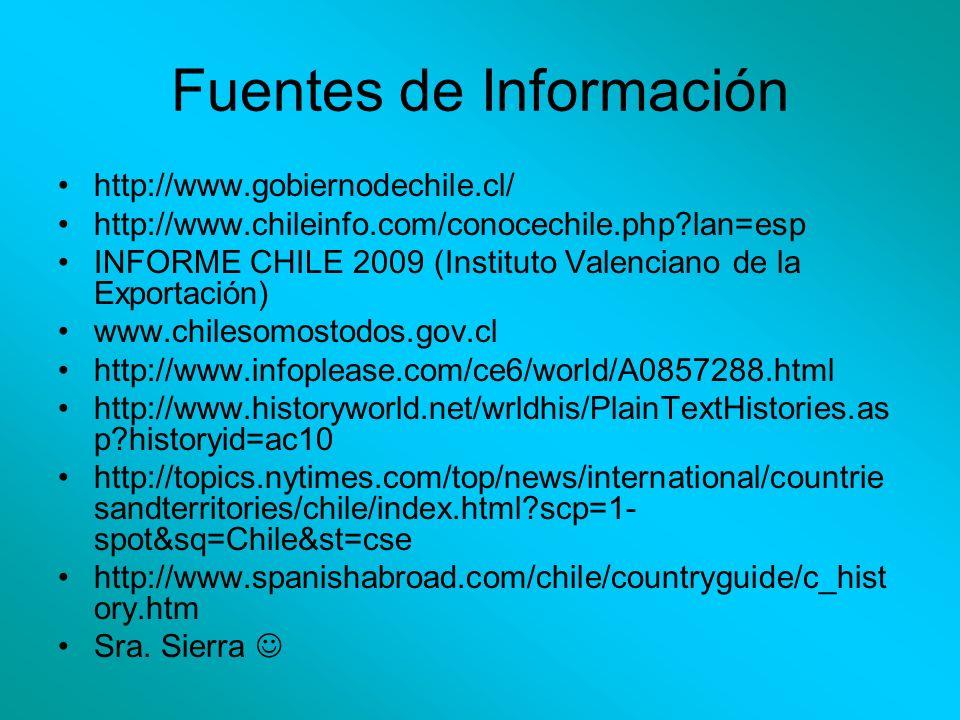 Fuentes de Información http://www.gobiernodechile.cl/ http://www.chileinfo.com/conocechile.php?lan=esp INFORME CHILE 2009 (Instituto Valenciano de la