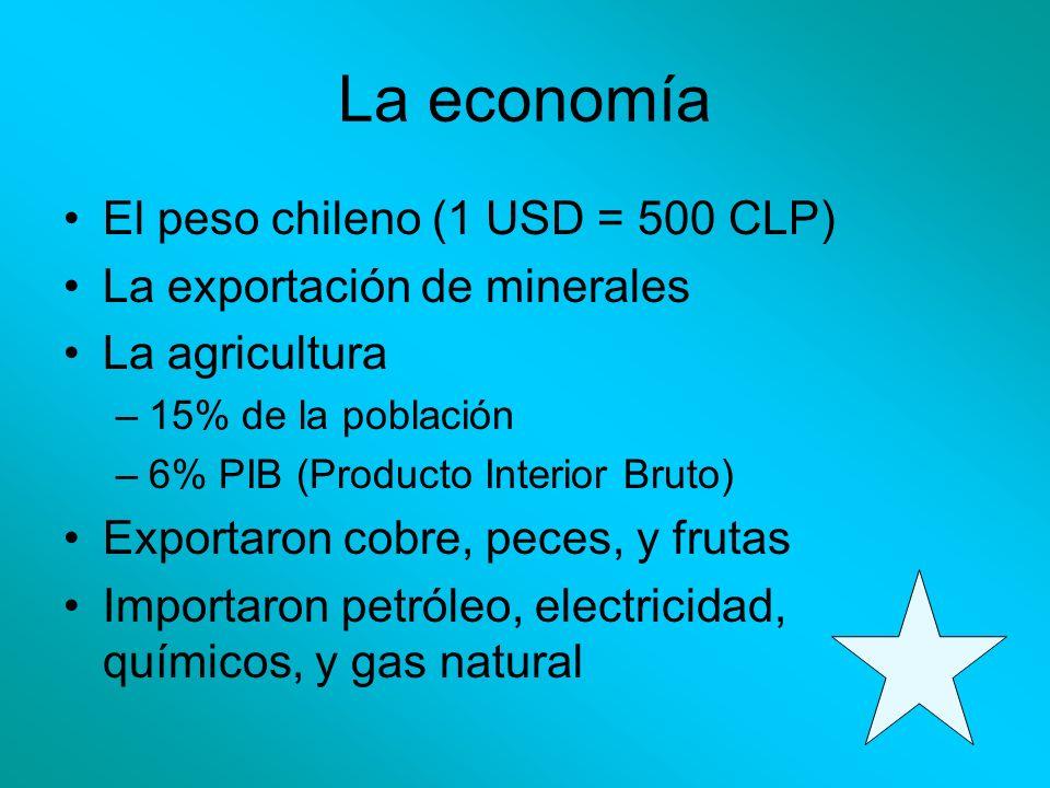 La economía El peso chileno (1 USD = 500 CLP) La exportación de minerales La agricultura –15% de la población –6% PIB (Producto Interior Bruto) Export