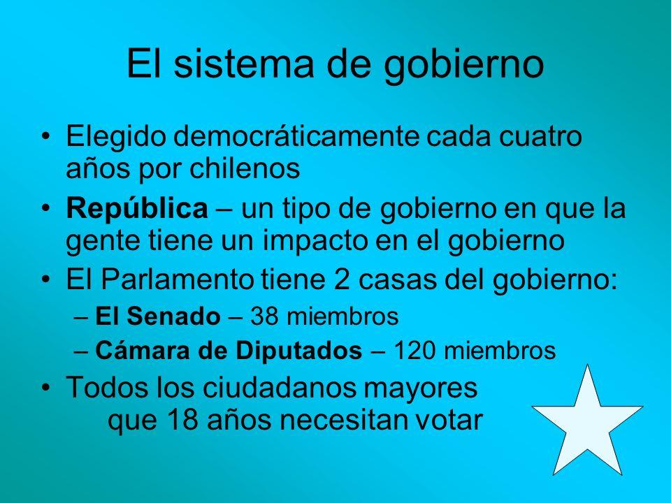 El sistema de gobierno Elegido democráticamente cada cuatro años por chilenos República – un tipo de gobierno en que la gente tiene un impacto en el g