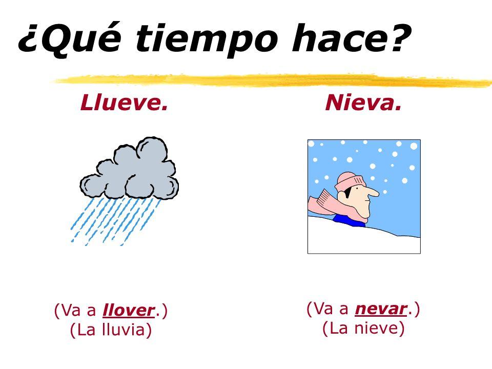 ¿Qué tiempo hace? Llueve.Nieva. (Va a llover.) (La lluvia) (Va a nevar.) (La nieve)