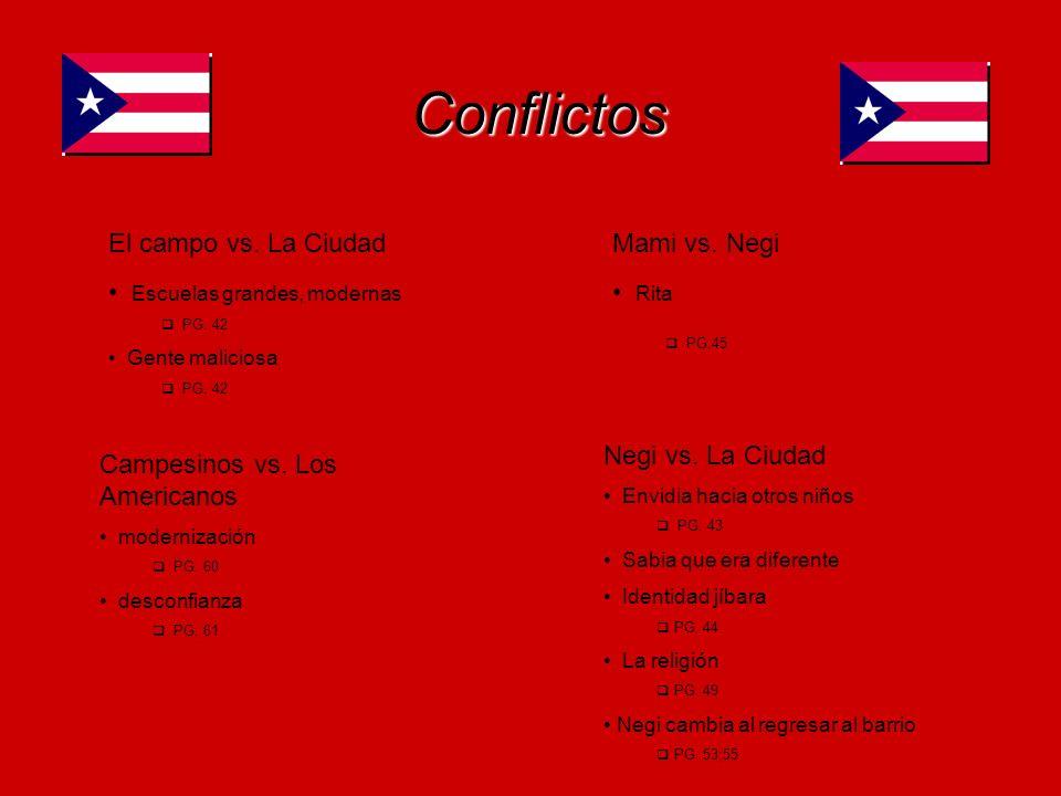 Conflictos Campesinos vs. Los Americanos modernización PG. 60 desconfianza. PG; 61 Negi vs. La Ciudad Envidia hacia otros niños PG. 43 Sabia que era d