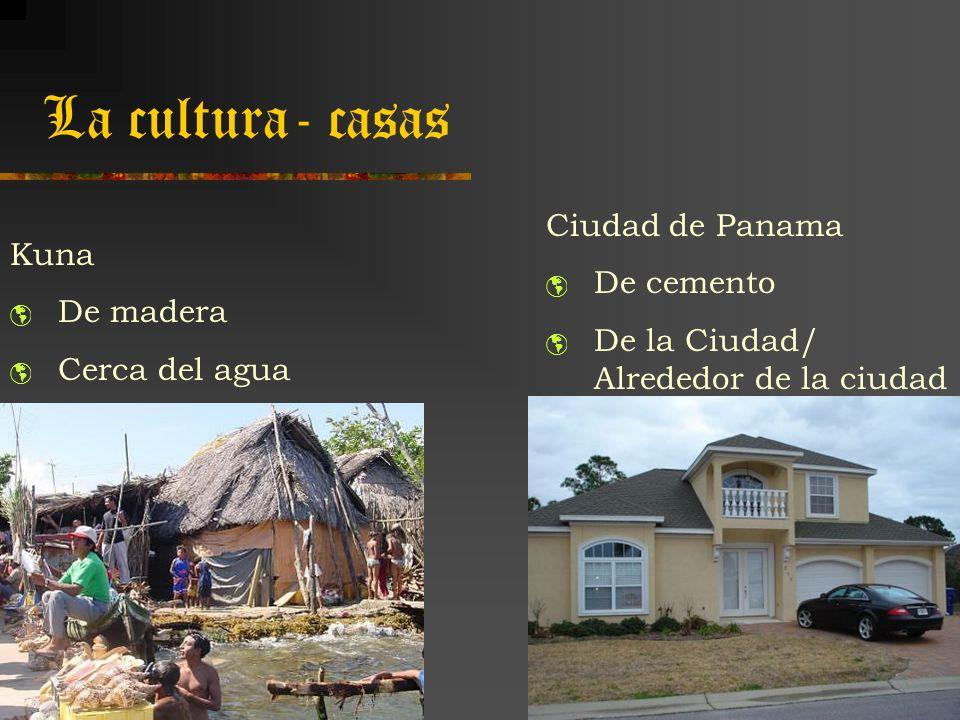 La cultura- casas Kuna De madera Cerca del agua Ciudad de Panama De cemento De la Ciudad/ Alrededor de la ciudad