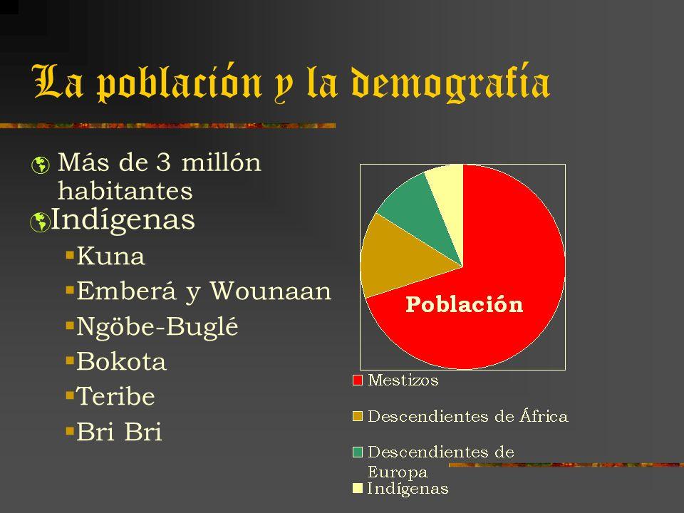 La población y la demografía Más de 3 millón habitantes Indígenas Kuna Emberá y Wounaan Ngöbe-Buglé Bokota Teribe Bri Bri