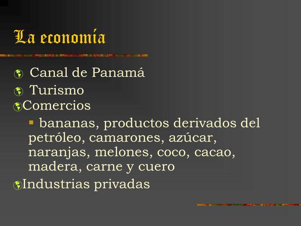 La economía Canal de Panamá Turismo Comercios bananas, productos derivados del petróleo, camarones, azúcar, naranjas, melones, coco, cacao, madera, ca