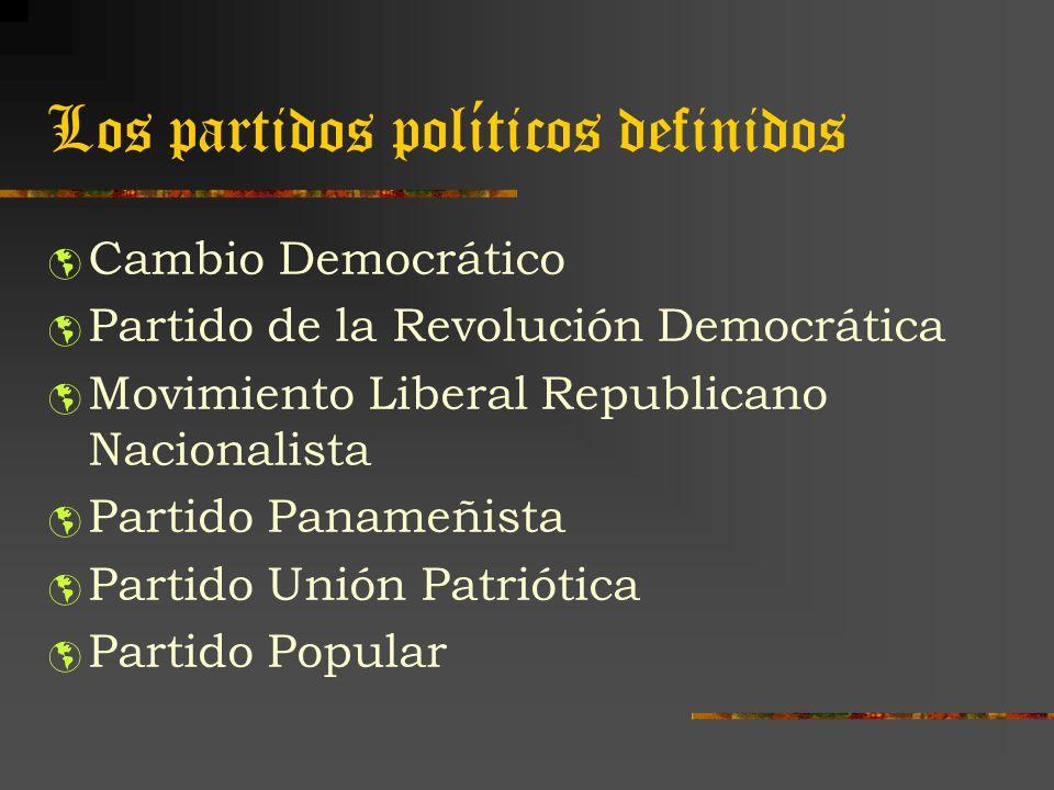 Los partidos políticos definidos Cambio Democrático Partido de la Revolución Democrática Movimiento Liberal Republicano Nacionalista Partido Panameñis