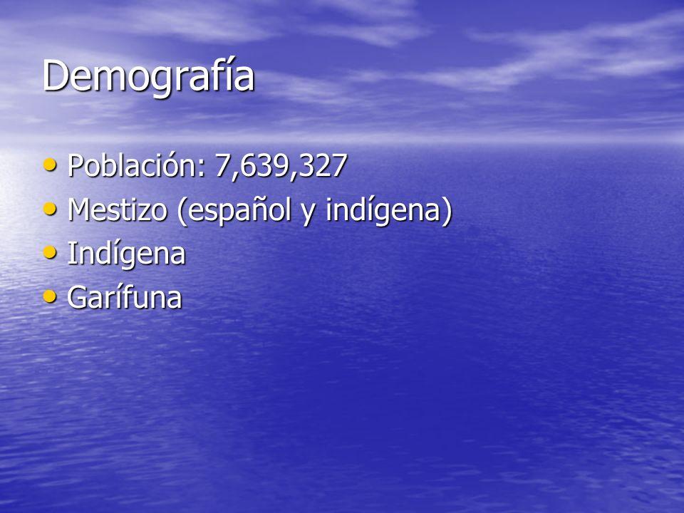 Demografía Población: 7,639,327 Población: 7,639,327 Mestizo (español y indígena) Mestizo (español y indígena) Indígena Indígena Garífuna Garífuna