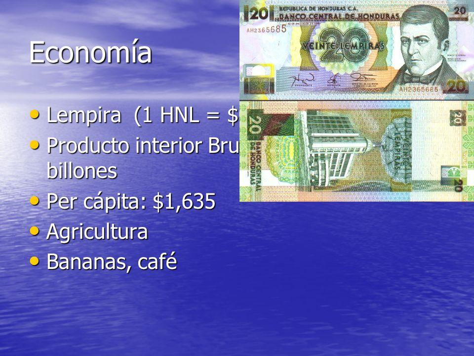 Economía Lempira (1 HNL = $0.05 USD) Lempira (1 HNL = $0.05 USD) Producto interior Bruto (GDP): $12.3 billones Producto interior Bruto (GDP): $12.3 bi