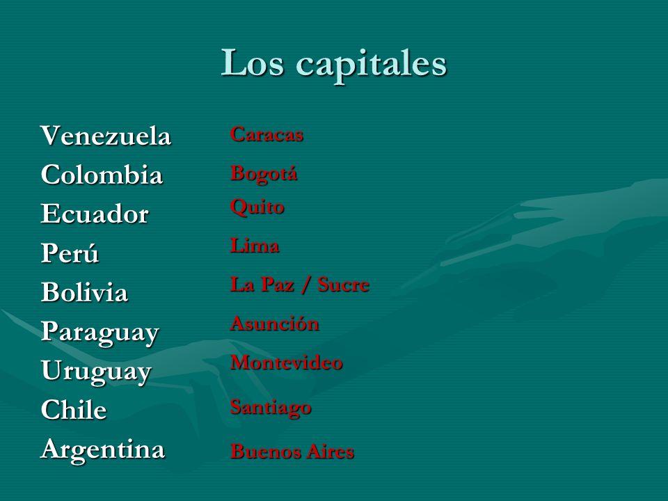 Brasil Colombia Ecuador Guyana Perú Paraguay Bolivia Uruguay ChileChile Argentina Venezuela Surinam Guyana Francesa El Océano Pacífico El Océano Atlán