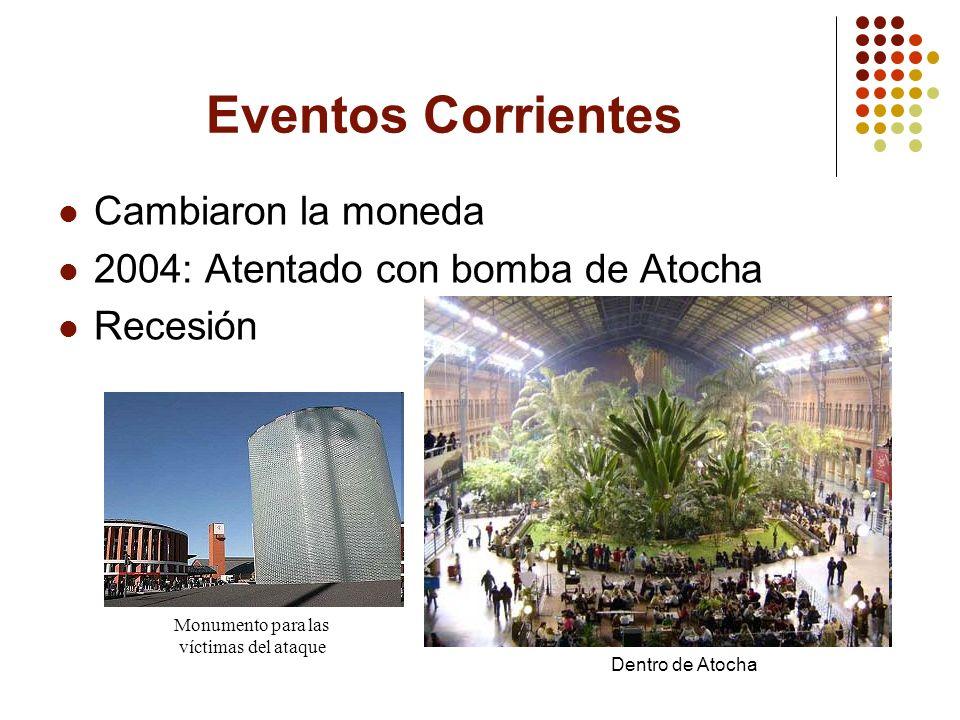 Eventos Corrientes Cambiaron la moneda 2004: Atentado con bomba de Atocha Recesión Dentro de Atocha Monumento para las víctimas del ataque