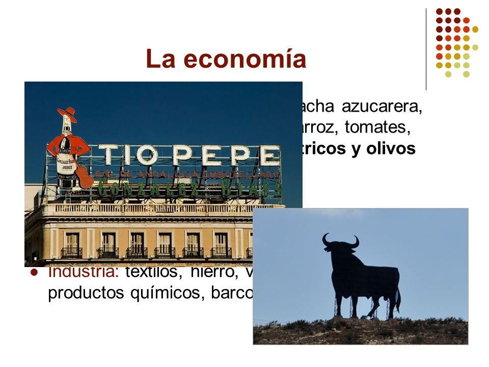 La economía Agricultura: trigo, cebada, remolacha azucarera, maíz, patatas, centeno, avena, arroz, tomates, viñedos (uvas) y huertos de cítricos y oli