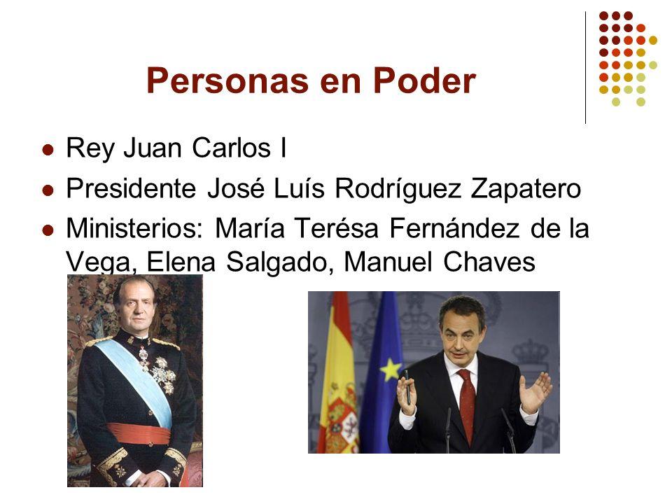 Personas en Poder Rey Juan Carlos I Presidente José Luís Rodríguez Zapatero Ministerios: María Terésa Fernández de la Vega, Elena Salgado, Manuel Chav