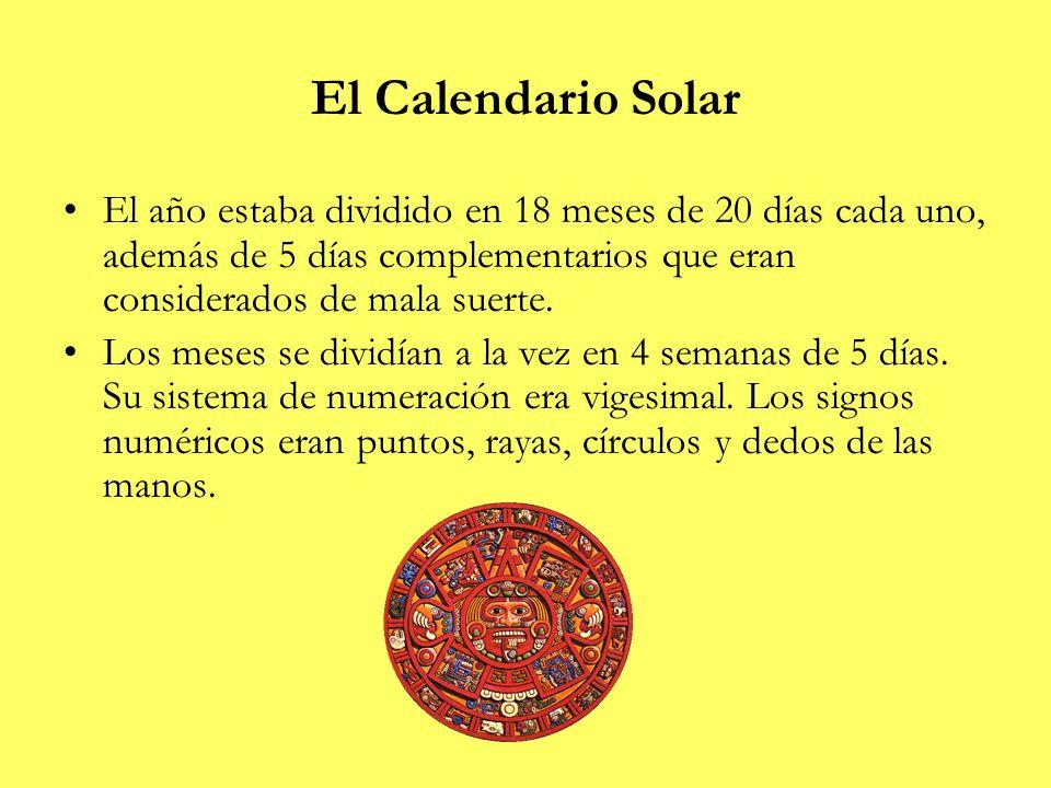 El Calendario Solar El año estaba dividido en 18 meses de 20 días cada uno, además de 5 días complementarios que eran considerados de mala suerte. Los