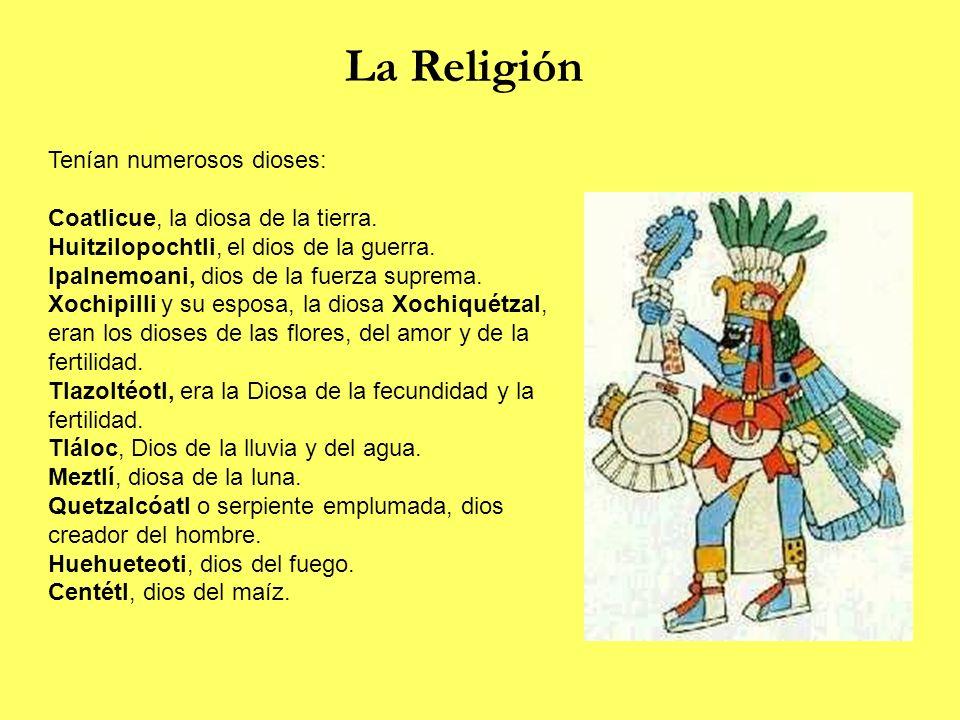 La Religión Tenían numerosos dioses: Coatlicue, la diosa de la tierra. Huitzilopochtli, el dios de la guerra. Ipalnemoani, dios de la fuerza suprema.