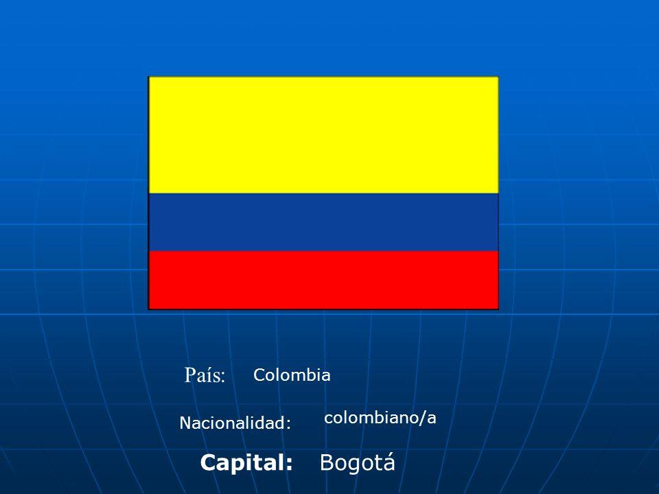 País: Colombia Nacionalidad: colombiano/a Capital:Bogotá