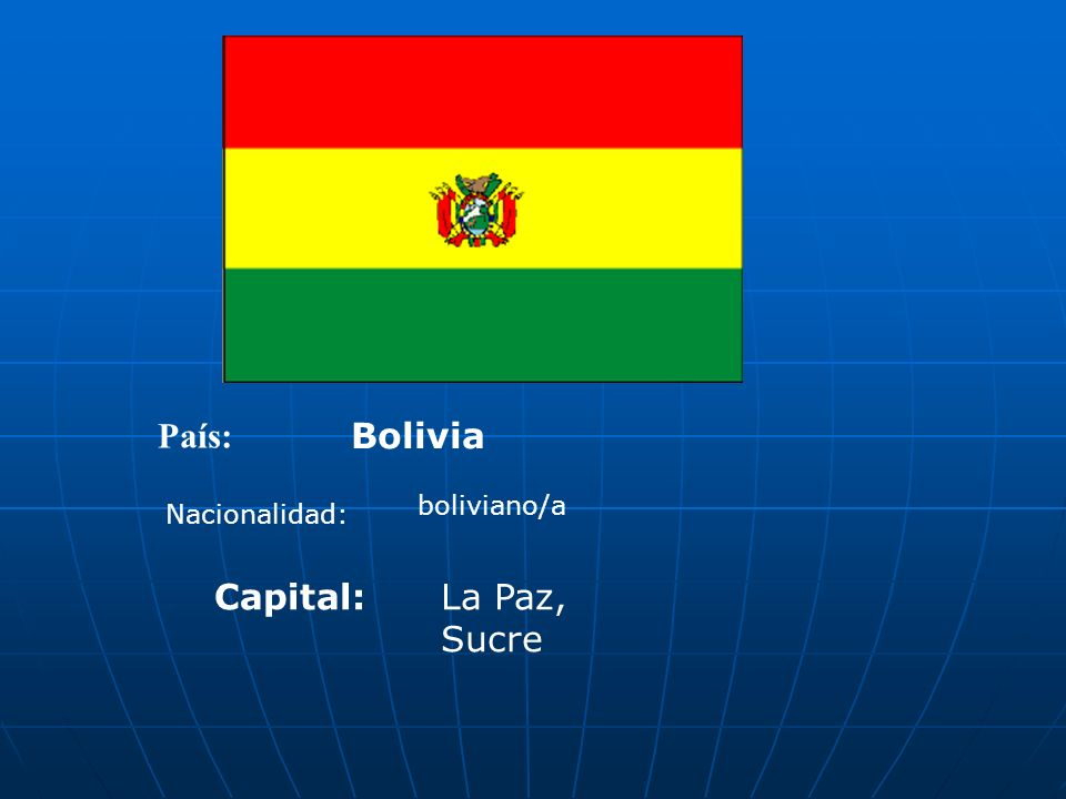 País: Bolivia Nacionalidad: boliviano/a Capital:La Paz, Sucre