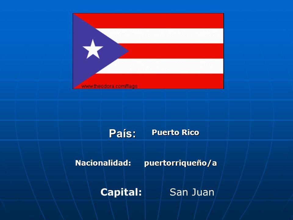 País: Puerto Rico Nacionalidad:puertorriqueño/a Capital:San Juan