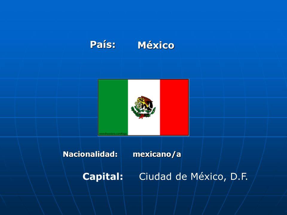 País: México Nacionalidad:mexicano/a Capital:Ciudad de México, D.F.