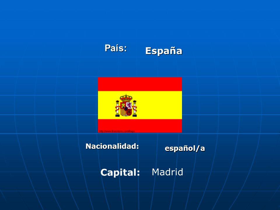 País: España Nacionalidad: español/a Capital: Madrid