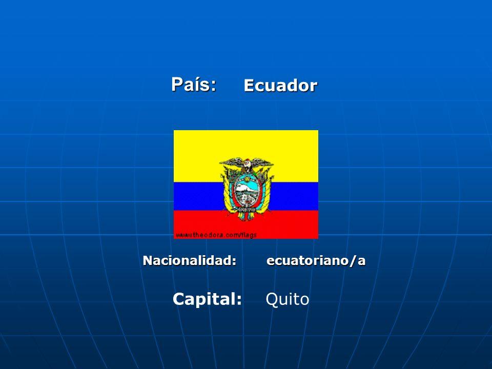 País:Ecuador Nacionalidad:ecuatoriano/a Capital:Quito
