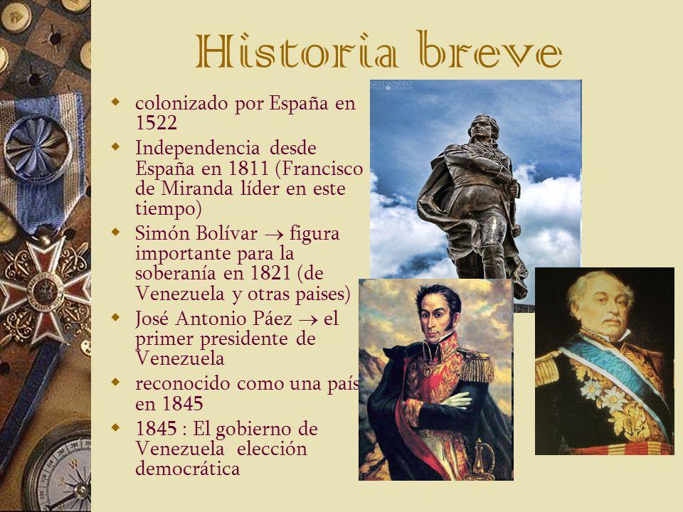 Historia breve colonizado por España en 1522 Independencia desde España en 1811 (Francisco de Miranda líder en este tiempo) Simón Bolívar figura impor