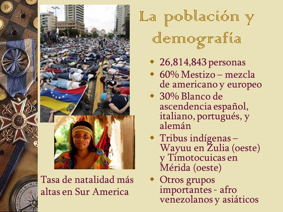 La población y demografía 26,814,843 personas 60% Mestizo – mezcla de americano y europeo 30% Blanco de ascendencia español, italiano, portugués, y al