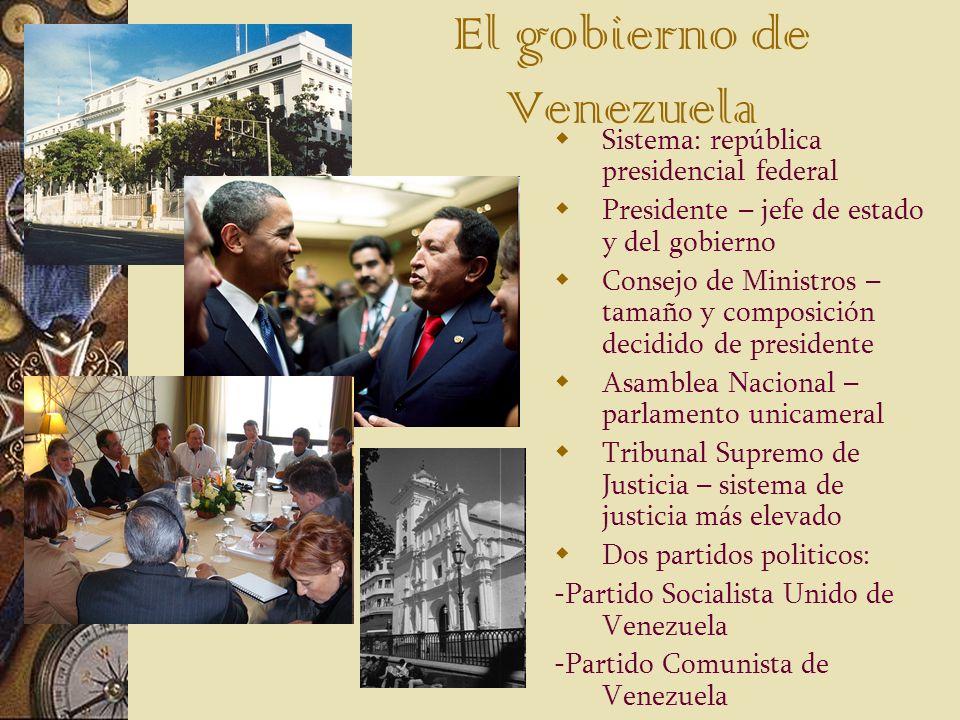 El gobierno de Venezuela Sistema: república presidencial federal Presidente – jefe de estado y del gobierno Consejo de Ministros – tamaño y composició