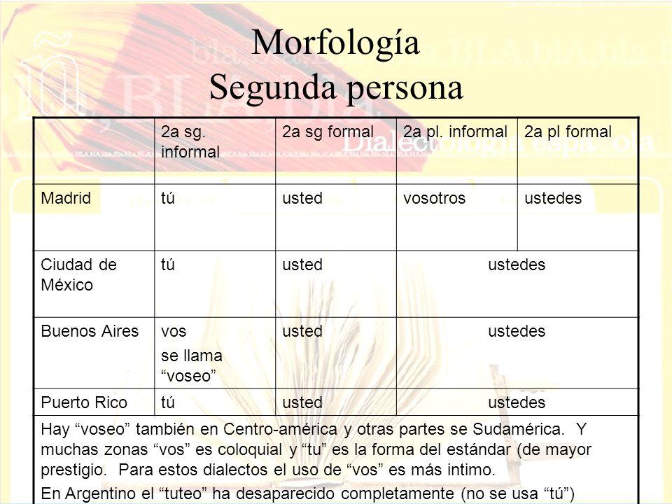 Morfología Segunda persona 2a sg. informal 2a sg formal2a pl. informal2a pl formal Madridtúustedvosotrosustedes Ciudad de México túustedustedes Buenos