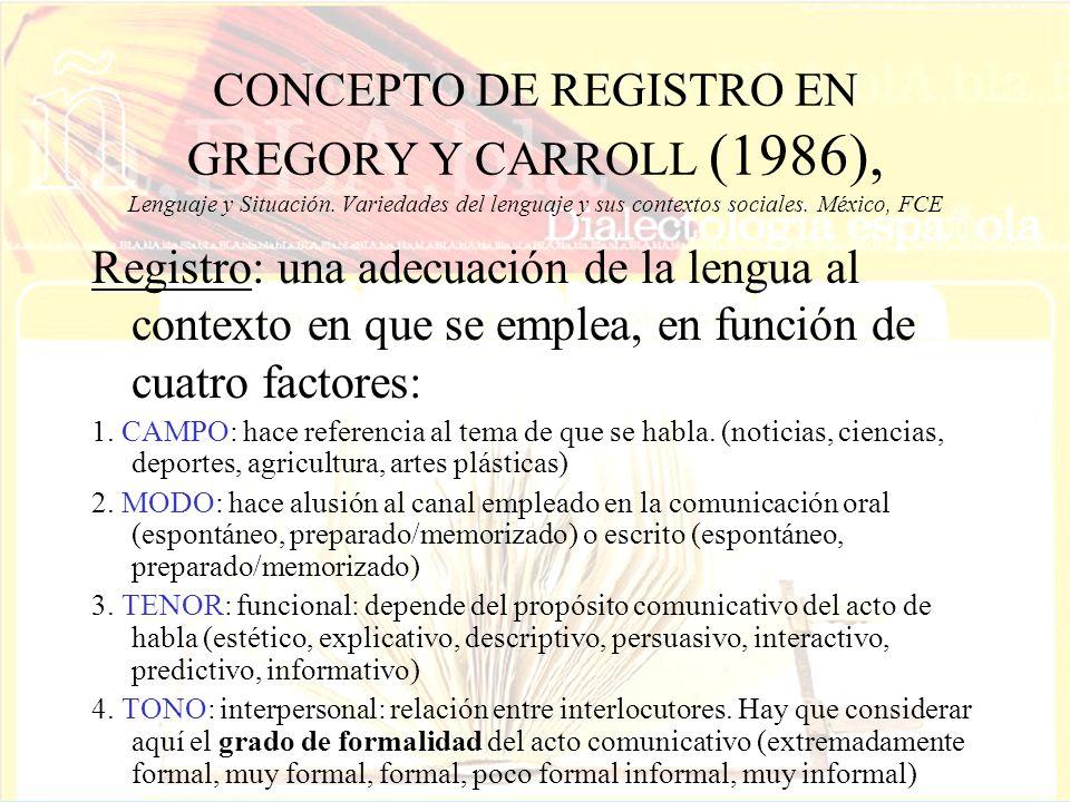 CONCEPTO DE REGISTRO EN GREGORY Y CARROLL (1986), Lenguaje y Situación. Variedades del lenguaje y sus contextos sociales. México, FCE Registro: una ad