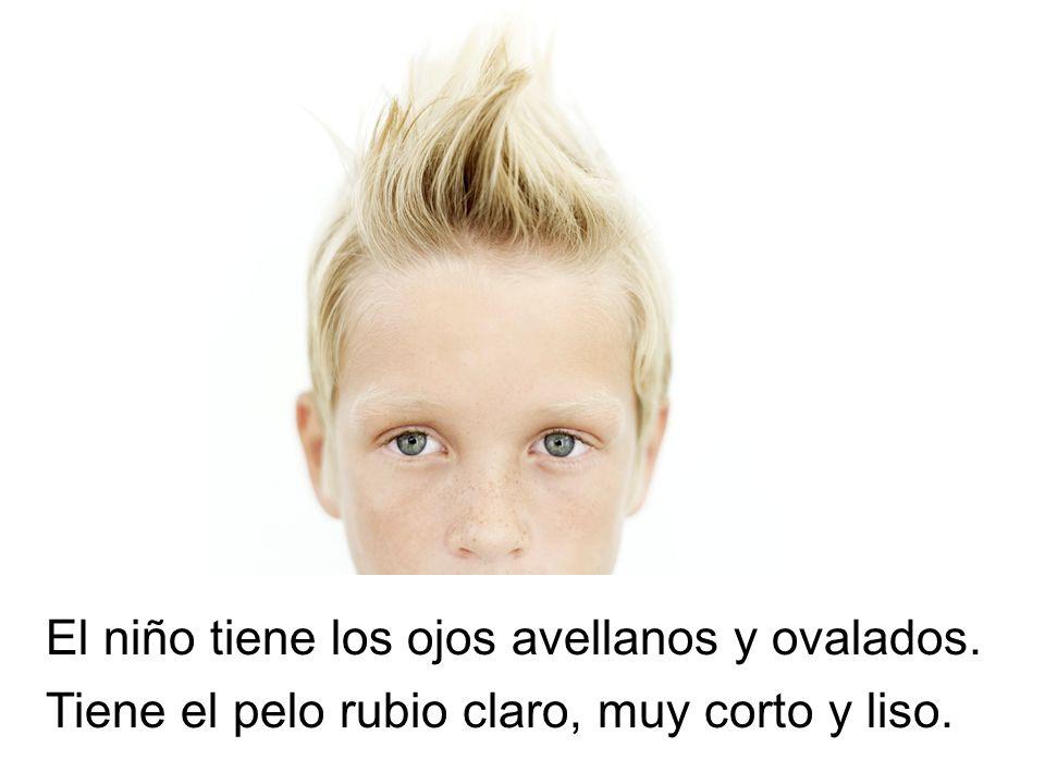 El niño tiene los ojos avellanos y ovalados. Tiene el pelo rubio claro, muy corto y liso.