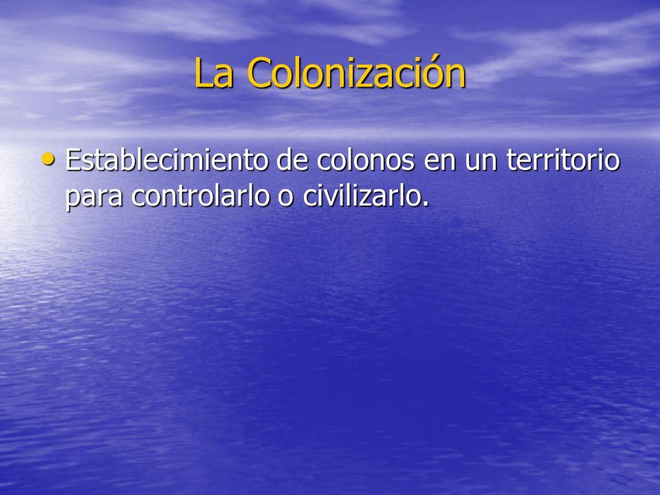 La Colonización Establecimiento de colonos en un territorio para controlarlo o civilizarlo. Establecimiento de colonos en un territorio para controlar