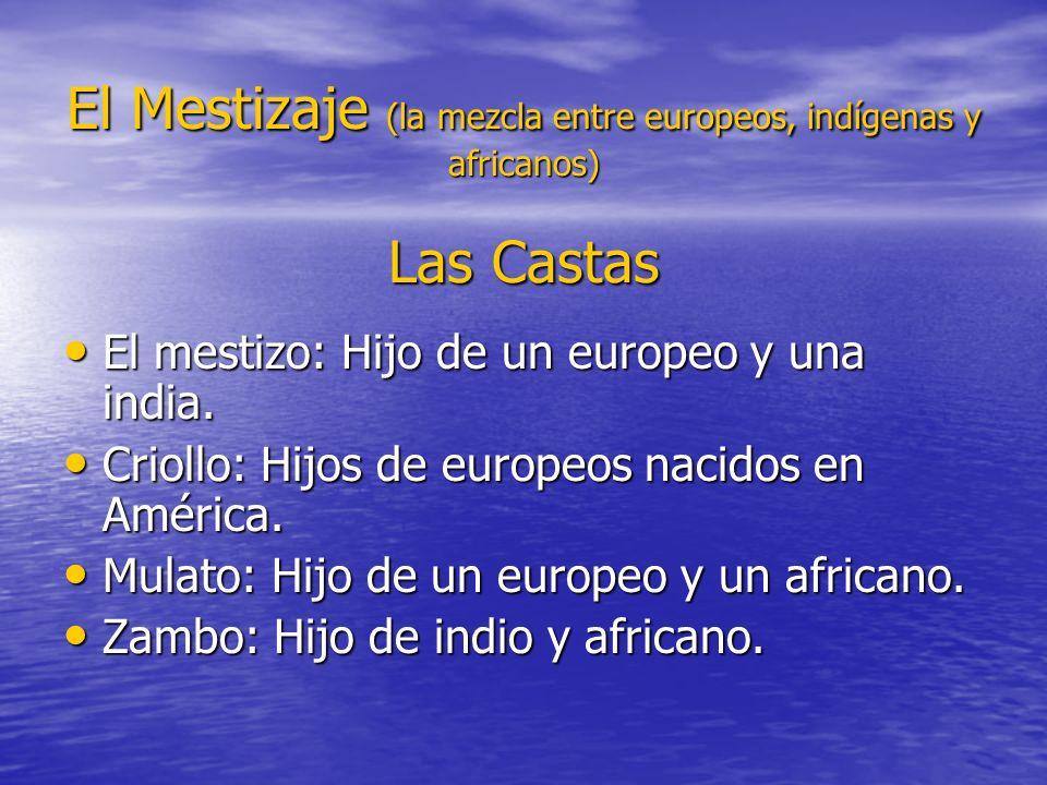 El Mestizaje (la mezcla entre europeos, indígenas y africanos) Las Castas El mestizo: Hijo de un europeo y una india. El mestizo: Hijo de un europeo y