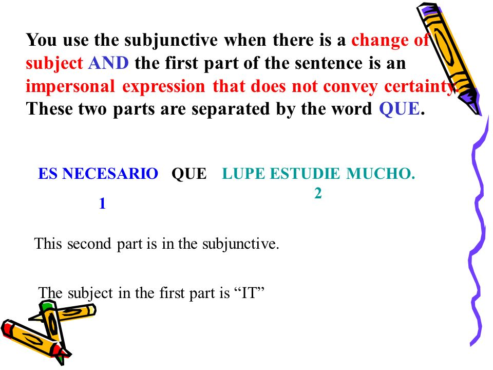 You use the subjunctive when there is a change of subject AND the first part of the sentence is an impersonal expression that does not convey certainty.