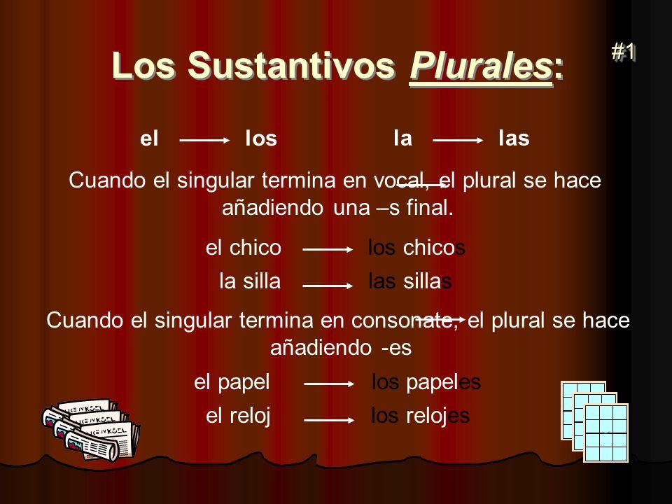 Los Sustantivos Plurales: el los la las Cuando el singular termina en vocal, el plural se hace añadiendo una –s final. el chico los chicos la silla la