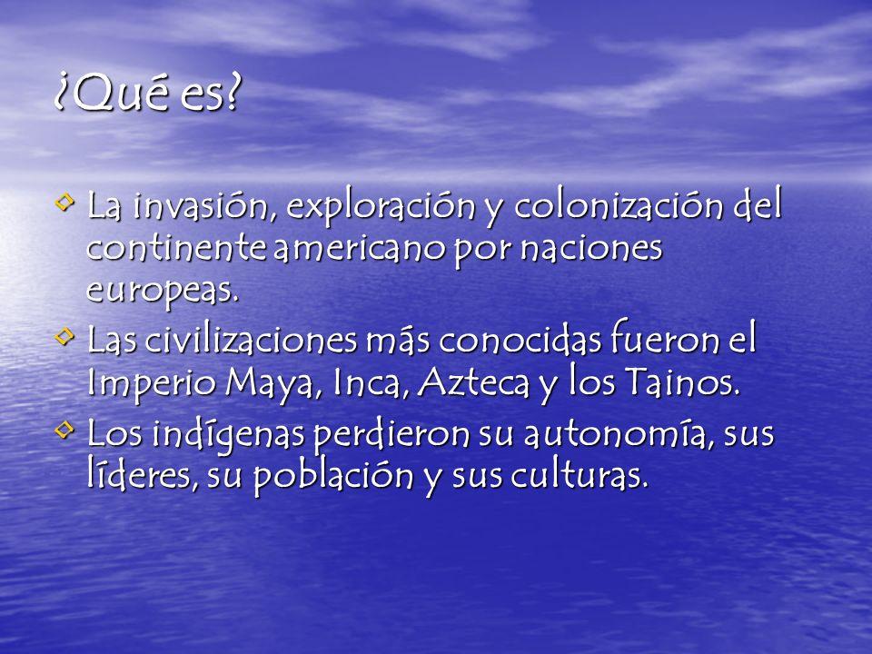 ¿Qué es? La invasión, exploración y colonización del continente americano por naciones europeas. La invasión, exploración y colonización del continent