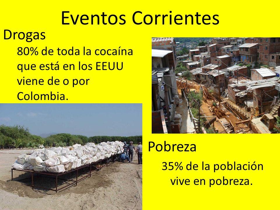 Eventos Corrientes Pobreza 35% de la población vive en pobreza. Drogas 80% de toda la cocaína que está en los EEUU viene de o por Colombia.