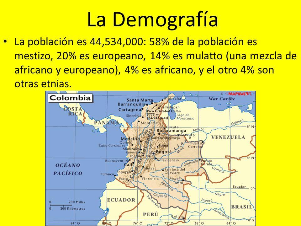 La Demografía La población es 44,534,000: 58% de la población es mestizo, 20% es europeano, 14% es mulatto (una mezcla de africano y europeano), 4% es