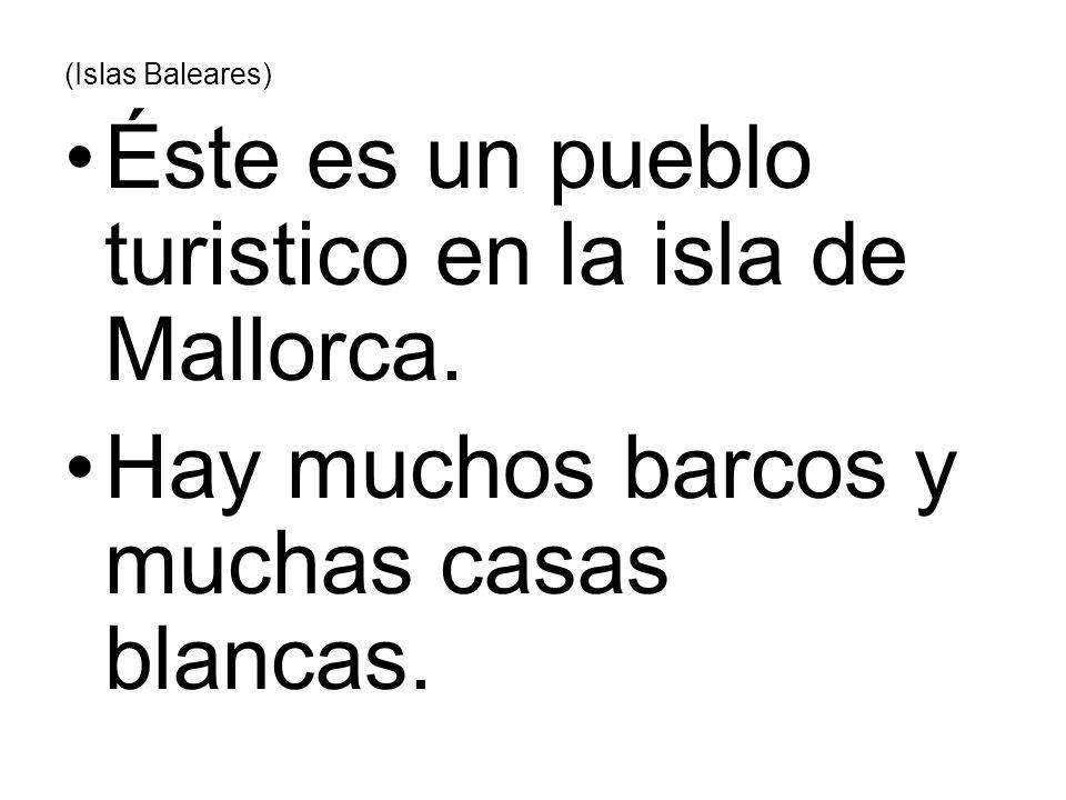 (Islas Baleares) Éste es un pueblo turistico en la isla de Mallorca. Hay muchos barcos y muchas casas blancas.