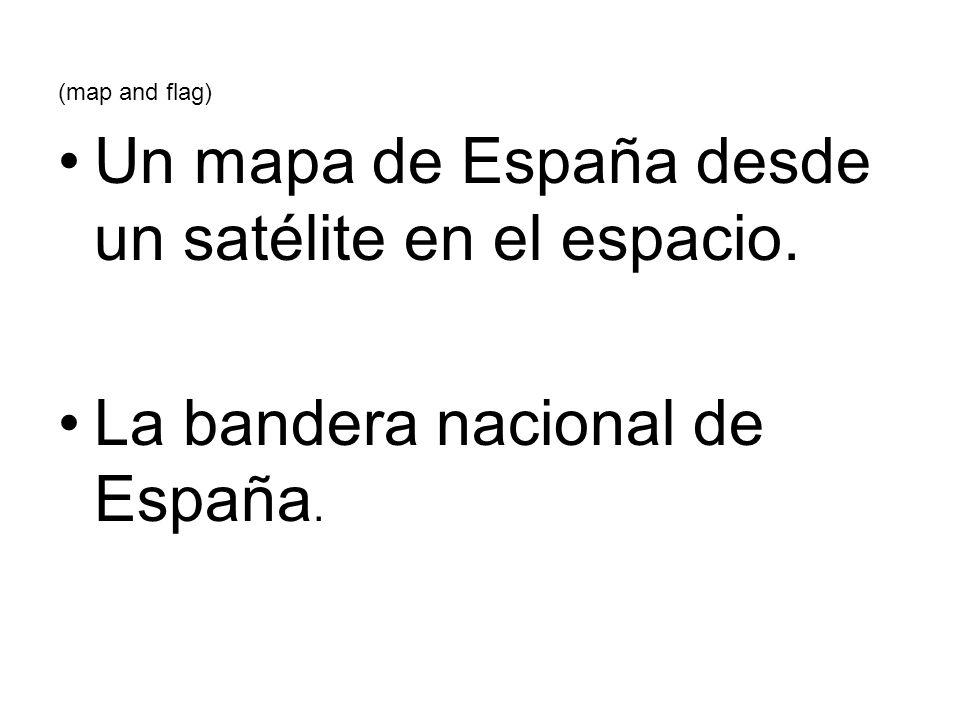 (map and flag) Un mapa de España desde un satélite en el espacio. La bandera nacional de España.