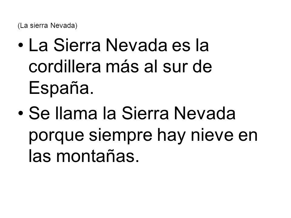 (La sierra Nevada) La Sierra Nevada es la cordillera más al sur de España. Se llama la Sierra Nevada porque siempre hay nieve en las montañas.