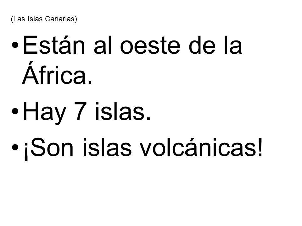 (Las Islas Canarias) Están al oeste de la África. Hay 7 islas. ¡Son islas volcánicas!