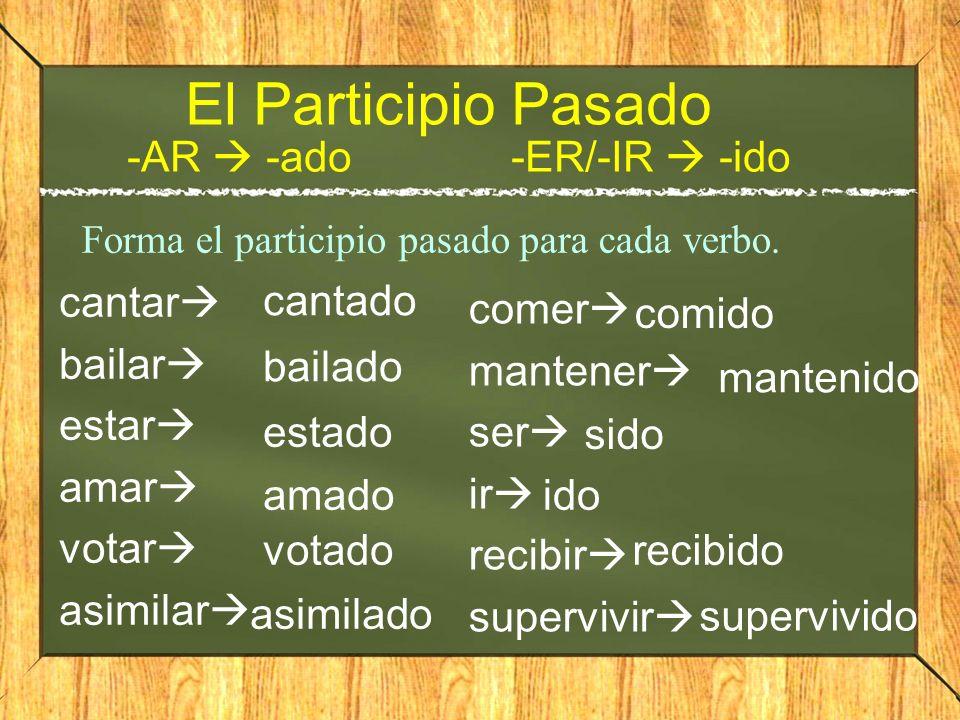 ¿Qué es el participio pasado.Lo usamos como adjectivo para describir algo; es un adjectivo.