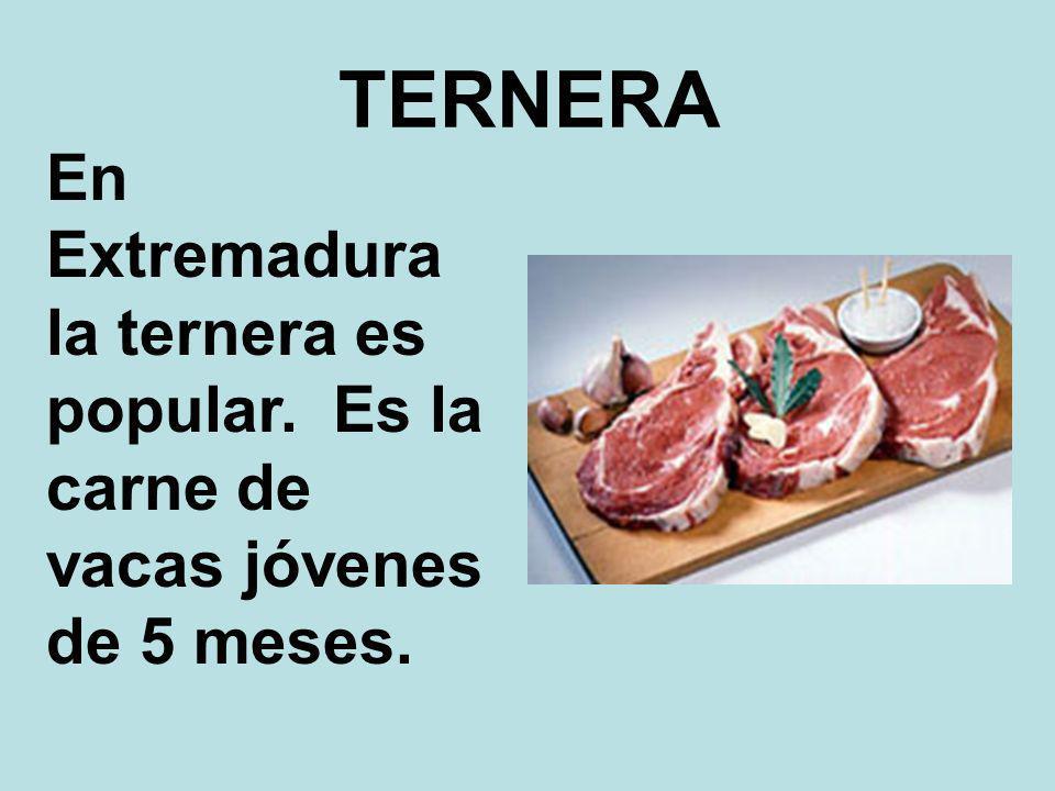 TERNERA En Extremadura la ternera es popular. Es la carne de vacas jóvenes de 5 meses.