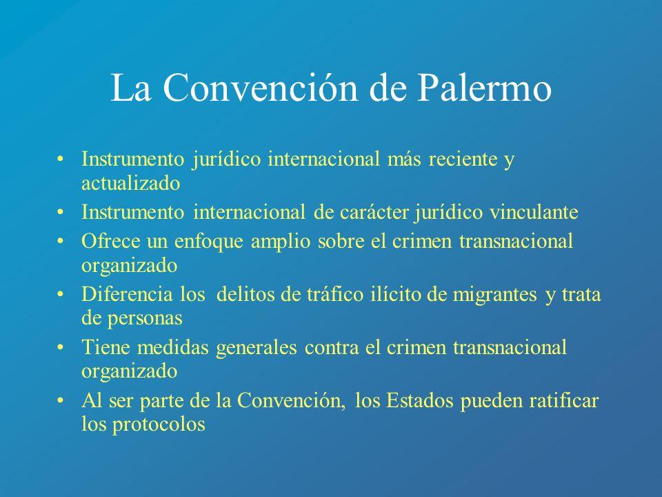 La Convención de Palermo Instrumento jurídico internacional más reciente y actualizado Instrumento internacional de carácter jurídico vinculante Ofrec