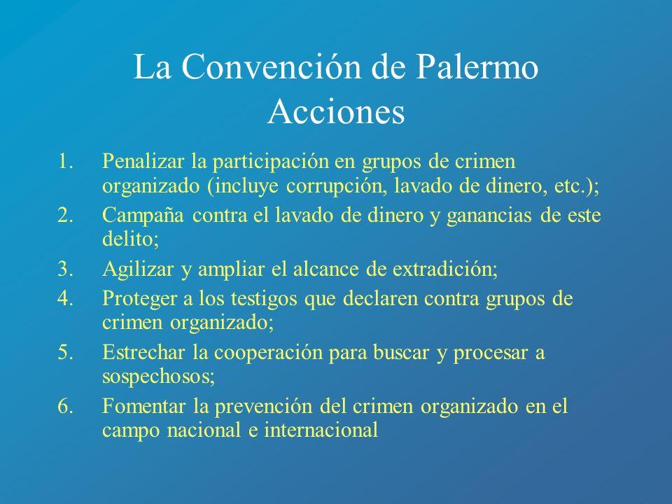 La Convención de Palermo Acciones 1.Penalizar la participación en grupos de crimen organizado (incluye corrupción, lavado de dinero, etc.); 2.Campaña