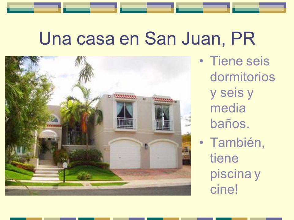 Una casa en San Juan, PR Tiene seis dormitorios y seis y media baños. También, tiene piscina y cine!