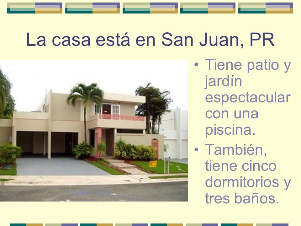 La casa está en San Juan, PR Tiene patio y jardín espectacular con una piscina. También, tiene cinco dormitorios y tres baños.