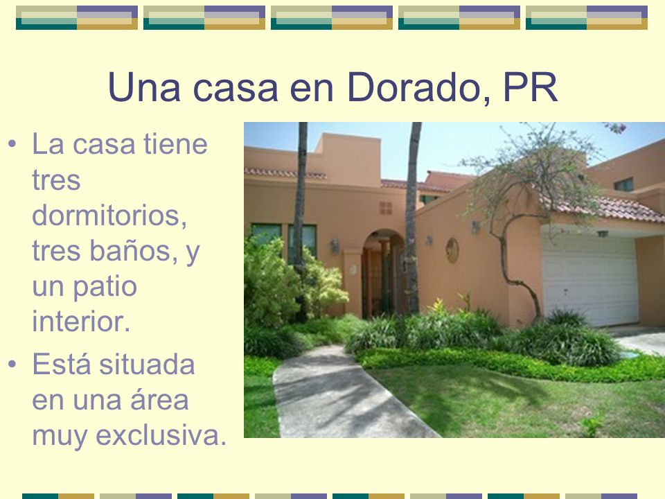 Una casa en Dorado, PR La casa tiene tres dormitorios, tres baños, y un patio interior. Está situada en una área muy exclusiva.
