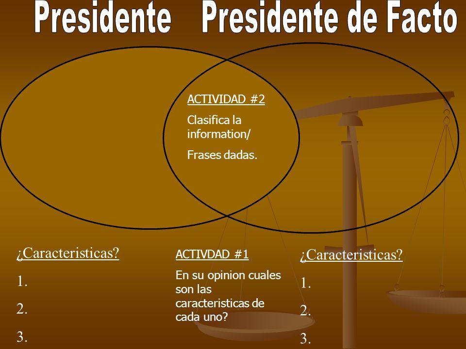 CARACTERÍSTICAS/DEFINICIONES Persona que preside.
