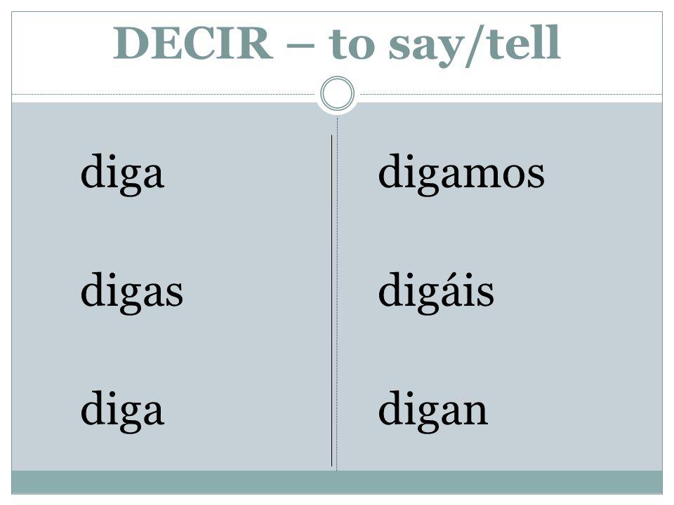 DECIR – to say/tell diga digas diga digamos digáis digan